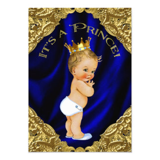 Blue and Gold Prince Baby Shower Card