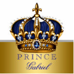 """Blue and Gold Prince Baby Shower Cutout<br><div class=""""desc"""">Beautiful royal blue and gold prince baby shower decoration acrylic cutout. This elegant blue and gold prince baby shower design makes a great cake top or table decoration and nursery decoration. Customize with your text in the font style,  color and wording of your choice.</div>"""