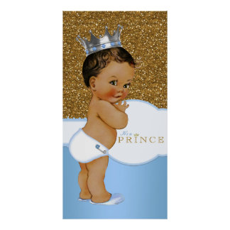 Blue and Gold Prince Baby Shower Poster