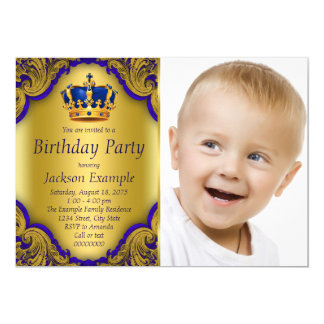 Blue and Gold Prince Birthday Party Card
