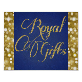 Blue and Gold Prince Royal Gifts Poster Sign