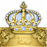 """Blue and Gold Prince Table Centerpiece Nursery Art Statuette<br><div class=""""desc"""">Prince baby shower table centerpiece decoration with beautiful baby blue and gold crown on a gold swirl background. This baby blue and gold prince baby shower decoration is made of sturdy acrylic and cut to the shape of the crown and gold background - the white area is removed, and it...</div>"""