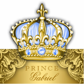 Blue and Gold Prince Table Centerpiece Nursery Art Statuette