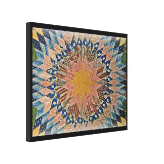 BLUE AND GOLD QUILT CANVAS PRINT