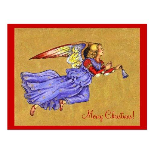 Blue and Gold Renaissance Angel Christmas PostCard