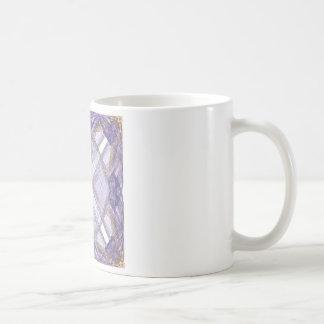 Blue and Gold Ribbon Fractal Art Square Coffee Mug