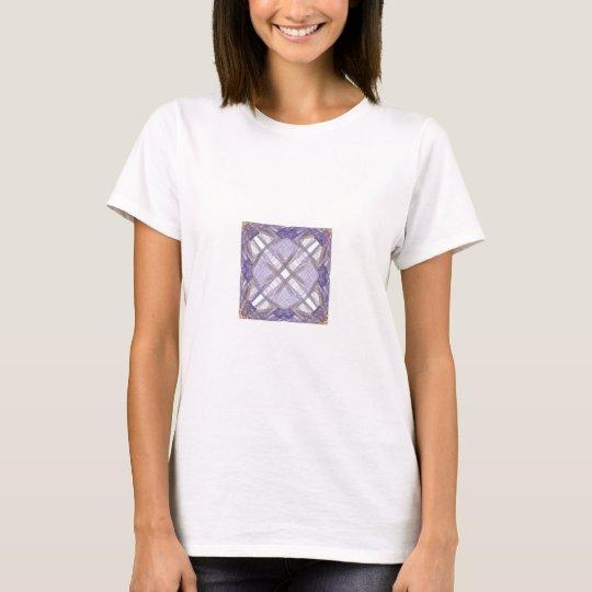 Blue and Gold Ribbon Fractal Art Square T-Shirt