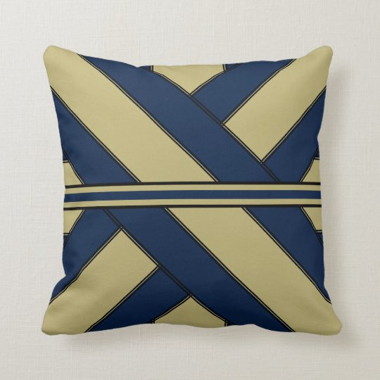 Blue and Gold Ribbonesque Throw Pillow