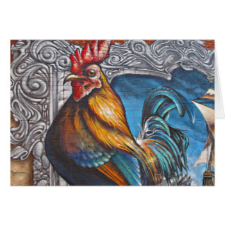 Blue and Gold Rooster Card