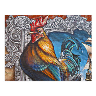 Blue and Gold Rooster Postcard