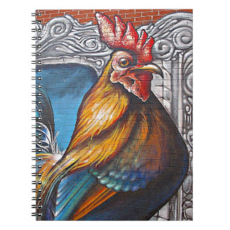 Blue and Gold Rooster Spiral Notebook