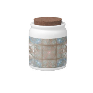 Blue and Gold Round Fractal Art Candy Jars