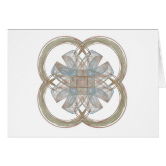 Blue and Gold Round Fractal Art Cards