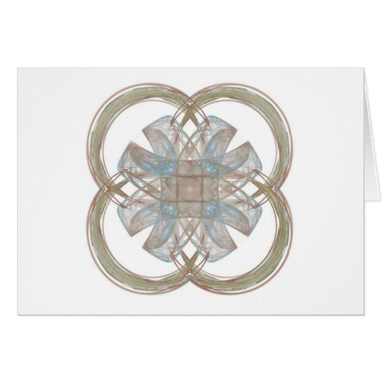 Blue and Gold Round Fractal Art Card