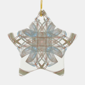 Blue and Gold Round Fractal Art Ceramic Ornament