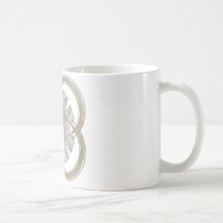 Blue and Gold Round Fractal Art Coffee Mug