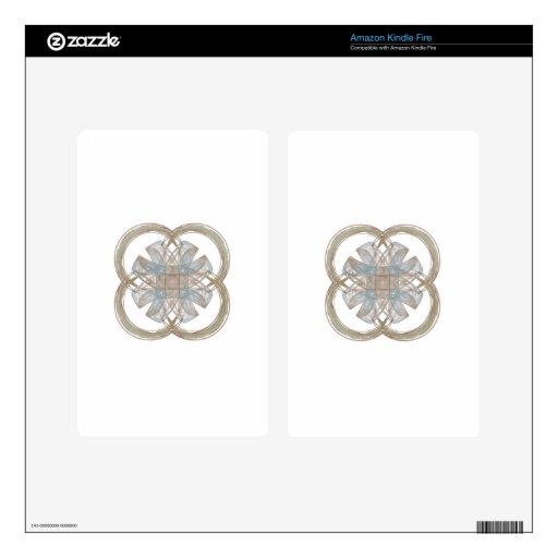Blue and Gold Round Fractal Art Kindle Fire Decals