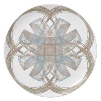 Blue and Gold Round Fractal Art Melamine Plate