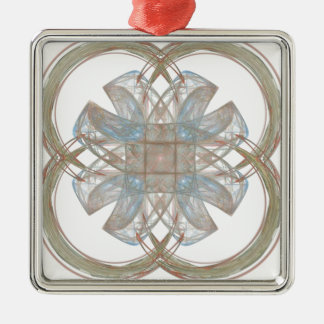 Blue and Gold Round Fractal Art Metal Ornament