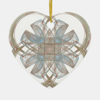 Blue and Gold Round Fractal Art Christmas Tree Ornament