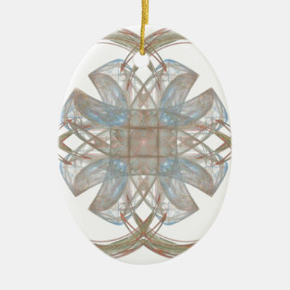 Blue and Gold Round Fractal Art Christmas Ornaments