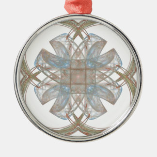 Blue and Gold Round Fractal Art Christmas Tree Ornaments