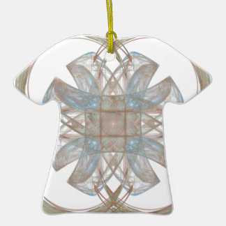Blue and Gold Round Fractal Art Ornament