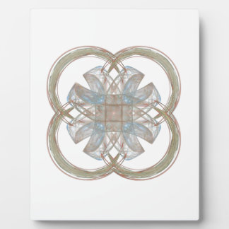 Blue and Gold Round Fractal Art Plaque