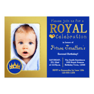 Prince birthday invitations announcements zazzle blue and gold royal prince birthday party photo invitation filmwisefo