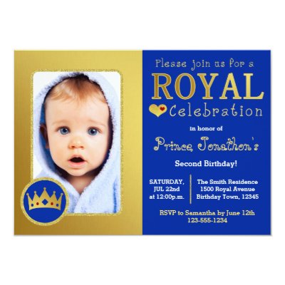 Prince 1st Birthday Invitation 5x7 Photo Card Zazzle Com