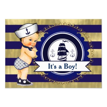 The_Baby_Boutique Blue and Gold Sailor Nautical Baby Shower Card