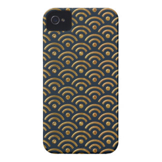 Blue and Gold Seigaiha Design Iphone 4/4S Case
