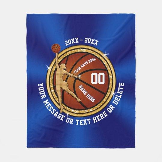 Blue and Gold Senior Night Basketball Gift Ideas Fleece Blanket