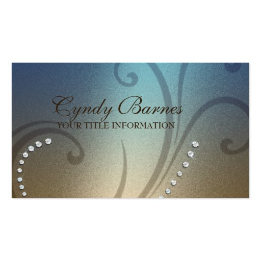 Blue and Gold Shimmer and Crystals Business Card