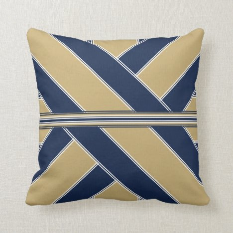 Blue and Gold Show Ribbonesque Throw Pillow