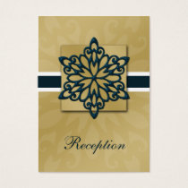 blue and gold snowflakes winter wedding business card