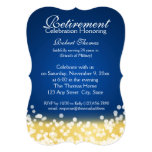 Blue and Gold Sparkle Lights Retirement Party Card