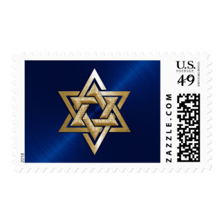 Blue and Gold Star of David Bar Mitzvah Postage