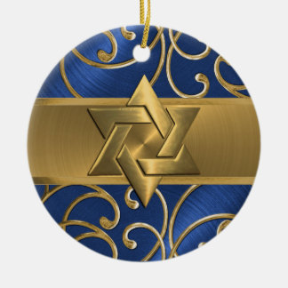 Blue and Gold Star of David Ornament