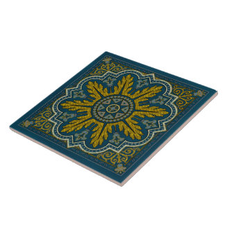 Blue and Gold Star Point Deco Tile