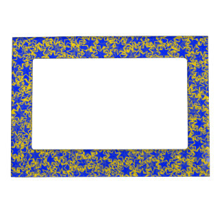 Blue and Gold Star Team Spirit Sports Colors Magnetic Frame