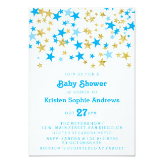 Blue and Gold Stars Baby Shower Sprinkle Card