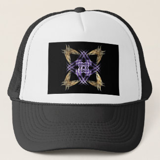 Blue and Gold Straw Fractal Art Square Trucker Hat