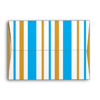 Blue and Gold Striped Party Invitation Envelope