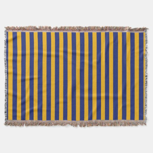 Blue and Gold Striped Throw Blanket