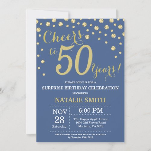 Blue and Gold Surprise 50th Birthday Diamond Invitation