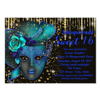 Blue and Gold Sweet Sixteen Masquerade Party Card