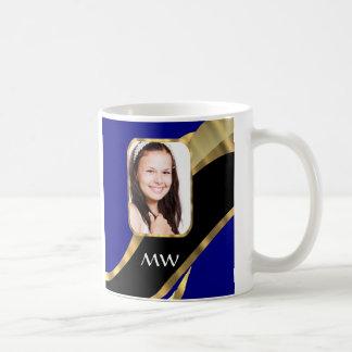 Blue and gold swirl pattern coffee mug