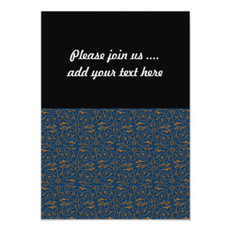 Blue and Gold Swirling Vines Pattern 5x7 Paper Invitation Card