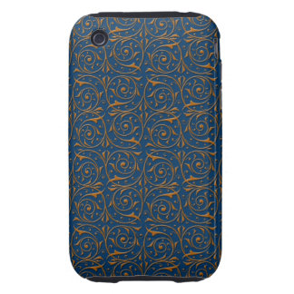 Blue and Gold Swirling Vines Pattern Tough iPhone 3 Covers